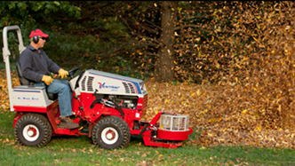 Ventrac tractor with power blower