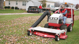 Ventrac collection system mowing and vacuuming
