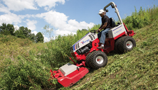 Ventrac slope mower with tough cut mower