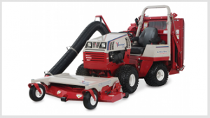 Ventrac collection system lowered - ready to mow and vacuum. Click for details.