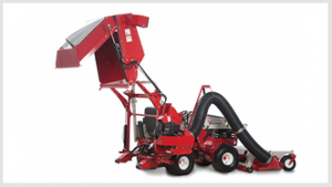 Ventrac collection system raised to full height. Click for details
