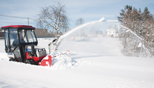 Ventrac 4500 snow blowers shoot snow up to 40 feet. Click image for specs on snow blower