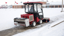 Ventrac 3400 mounted with de-icing drop spreader. Click image to see Drop Spreader specs