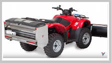 Ventrac drop spreader mounted on ATV. Click image to see Drop Spreader specs.