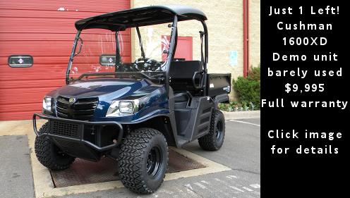 Cushman 1600 XD Utility Vehicle - Demo unit w/full warranty. Click image for details.