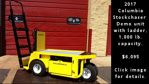 Used 2017 Columbia Stock Chaser electric warehouse vehicle. Click image for details.