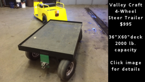 Used Valley Craft 4-Wheel Steer Warehouse Trailer. Click image for details