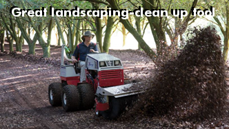 Ventrac HB580 broom clearing leaf debris