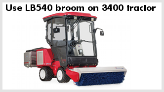 Ventrac LB540 broom mounted on Ventrac 3400 tractor