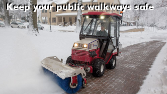 Ventrac 580 rotating broom keeps your public walkways safe