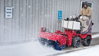Ventrac SSV tackles sidewalk snow. Click for more detail