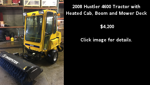 Used 2008 Hustler 4600 Tractor with Heated Cab, Boom and Mower Deck. Click image for details.