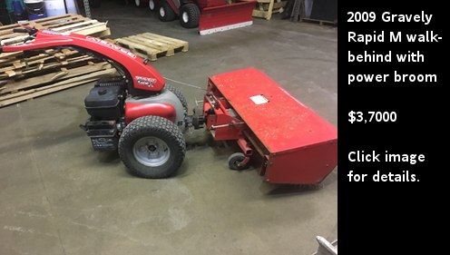 Used 2009 Gravely Rapid M walk-behind with power broom. Click image for details.