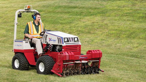 Cushman Motors rents compact tractor attachments like this aerator
