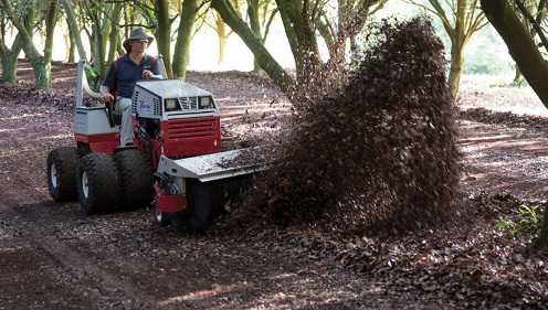 Cushman Motors rents compact tractor attachments like this rotary broom