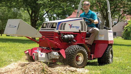 Cushman Motors rents compact tractor attachments like this stump grinder