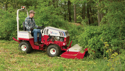 Cushman Motors rents compact tractor attachments like this tough cut brush mower