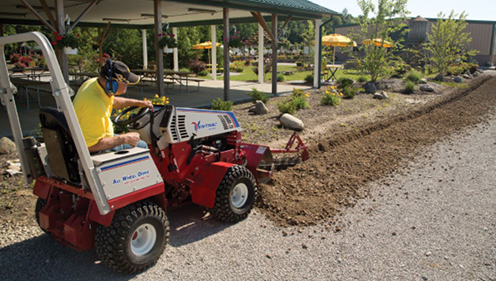 Cushman Motors rents compact tractor attachments like this trencher