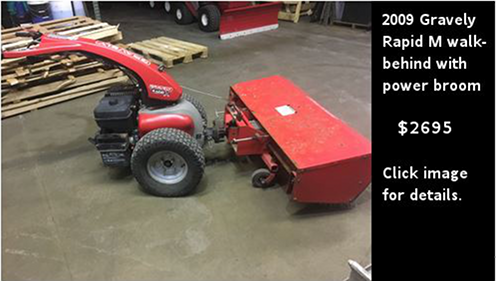 Used Gravely Rapid M walk-behind with power broom