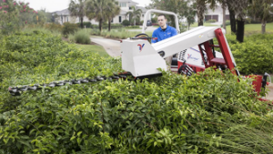 Ventrac boom mower trims those hard to reach places.