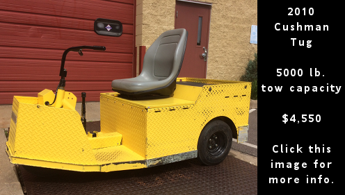 Used 2010 Cushman Tug. 5000 lb. towing capacity. $4,550 dollars. Click this image for more details.