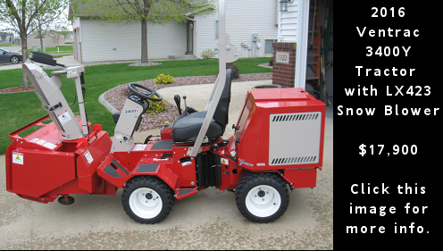 Used 2016 Ventrac 3400Y tractor with LX423 snow blower. $17,900. Click this image for more detail.