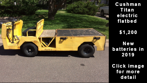 Used Cushman Titan electric flatbed vehicle - $1,200. Click image for more detail.