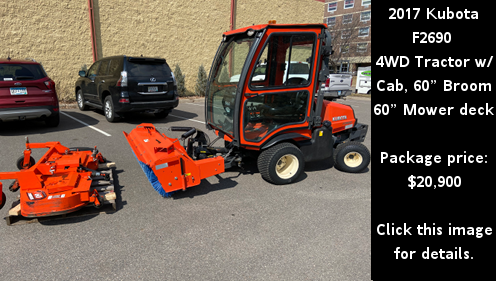 Used 2017 Kubota F2690 4WD Tractor with cab, broom, and mower deck. Click the image for details